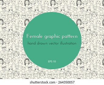 seamless pattern with the image of a group of women of all ages and nationalities, with different hairstyles. graphic hand drawn illustration