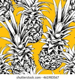 Seamless pattern with image of a pineapple fruit on a yellow background. Vector illustration.
