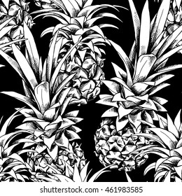 Seamless pattern with image of a pineapple fruit. Vector black and white illustration.