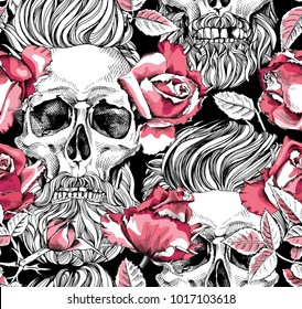 Seamless pattern with image of a pink Rose flowers and skull with a hipster hair and beard on a black background. Vector illustration.
