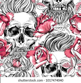 Seamless pattern with image of a pink Rose flowers and skull with a hipster hair and beard on a white background. Vector illustration.