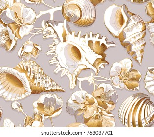 Seamless pattern with image of a sea shell and cherry flowers. Vector illustration.