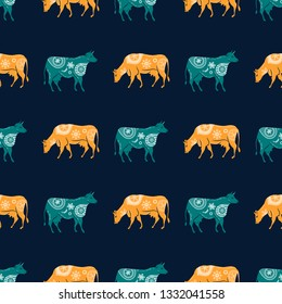 Seamless pattern with the image of silhouettes of cows and flowers