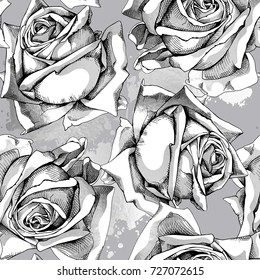 Seamless Pattern With Image Of A Silver Rose Flowers And Blots On Gray Background