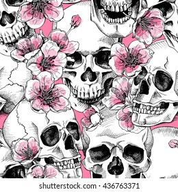 Seamless pattern with image a skull and with flowers pink cherry. Vector illustration.
