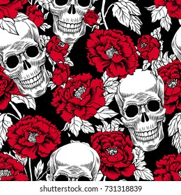 Seamless pattern with image a skull and with flowers peony. Vector illustration. Day of the Dead gold Skull. Tattoo style Grunge Rock And Roll Fashion. Textile fabric design.