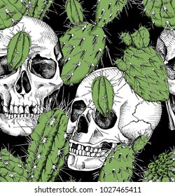 Seamless pattern with image of a skull and a green different cacti on a black background. Vector illustration.