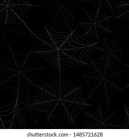 Seamless pattern with the image of the spider web on a black background. Happy Halloween. Vector illustration