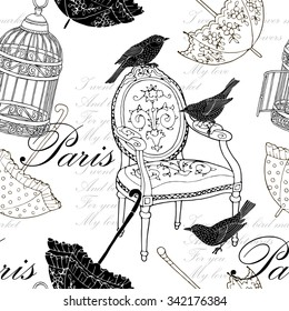 Seamless pattern with image of vintage chair, birds, cage and umbrellas. Vector black and white illustration.