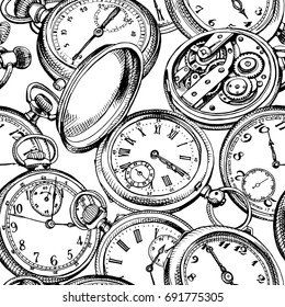 Seamless pattern with image of a Vintage Pocket watches. Vector black and white illustration.