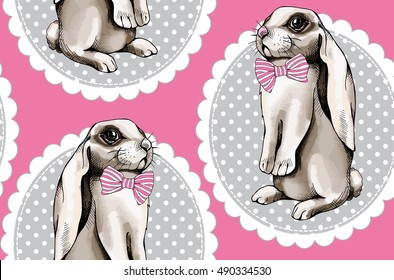 Seamless pattern with image a White Bunny in a pink tie sits on his hind legs on a gray ellipse frame. Vector illustration.