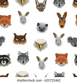 Seamless pattern with images of animals on a white background. Illustration of animals. Eagle, raccoon, hedgehog, rabbit, Fox, kangaroo, wolf, owl