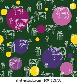 Seamless pattern with images of cows and milk cans