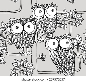 Seamless Pattern With Images Of Owls On The Tree Vector Graphic Illustration