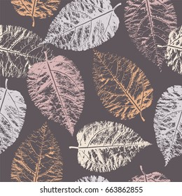 Seamless pattern with imprint forest leafs.