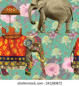 Seamless pattern with Indian elephants and flowers. Hand drawn vector.