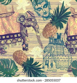 Seamless pattern with Indian elephants, pineapples and Buddha head. Hand drawn vector. Vintage style.