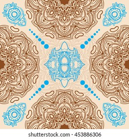 Seamless pattern with indian mandala. Vector illustration. Vintage decorative elements