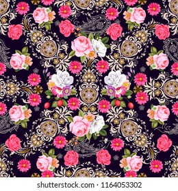 Seamless pattern with indian motives