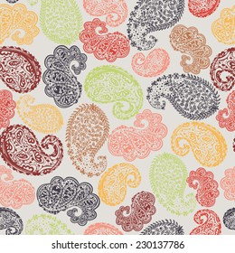 Seamless pattern in Indian style. Vector illustration, eps 8.
