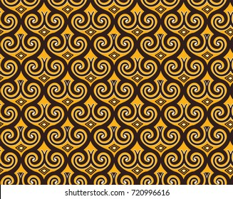 Seamless pattern in Indonesian batik style on the brown background