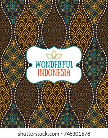 Seamless pattern in indonesian vintage batik luxury style with the text placeholder.