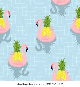 Seamless pattern Inflatable Flamingo with Pineapple Float On Swimming Pool.printing wallpaper.vector illustration
