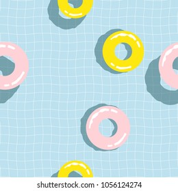 Seamless pattern Inflatable Pink and yellow life ring Float On Swimming Pool.printing wallpaper.vector illustration