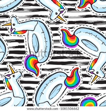 bf1b6f3bad5b5 Seamless pattern with inflatable Rainbow Unicorn. Swim ring. Summer print