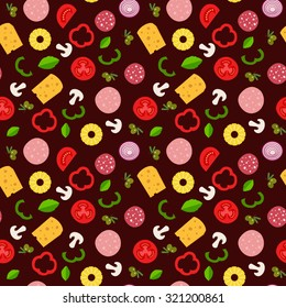 Seamless pattern with ingredients of pizza in flat style. Vector background for your design.