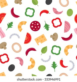 Seamless pattern with the ingredients for pizza. Food background. Vector illustration, flat style.
