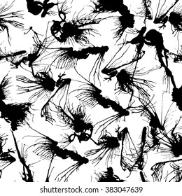 Seamless pattern with ink blobs. Vector illustration.