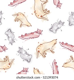 Seamless pattern with ink cats