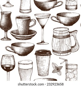 Seamless pattern with ink hand drawn drinks cups, glass and mugs illustration isolated on white. Vintage drink sketch background