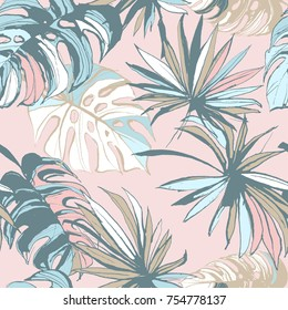 Seamless pattern of ink Hand drawn sketch Tropical palm leaves. Greeting card, invitation for summer beach party, flyer. Vector illustration. Grunge design style