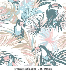 Seamless pattern of ink Hand drawn sketch Tropical palm leaves with toucan bird parrots. Greeting card, invitation for summer beach party, flyer. Vector illustration. Grunge design style