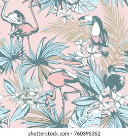 Seamless pattern of ink Hand drawn sketch Tropical palm leaves with toucan bird parrots flamingo. Greeting card, invitation for summer beach party, flyer. illustration. Grunge design style