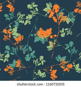 Seamless pattern with ink stamp of herbs