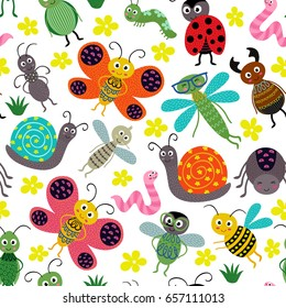 seamless pattern with insect - vector illustration, eps