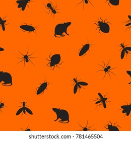 Seamless pattern insects and rodents pests. Color background for service of pest control. Web banner with cockroaches, rats, spiders, ants, bed bugs, mosquitoes, mosquitoes. Vector illustration