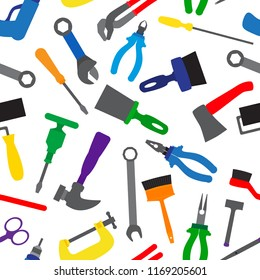 Seamless pattern with instruments and tools. Colorful repair tools repetitive pattern. ector illustration for your graphic design.
