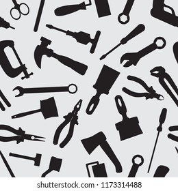 Seamless pattern with instruments and tools. Silhouettes of repair tools repetitive pattern. Vector illustration for your graphic design.