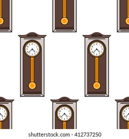 Seamless pattern with interior, grandfather clock. Flat colored illustration