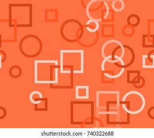 Seamless pattern of interlocked circles and squares in Deep Orange from the Material Design palette