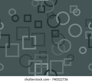 Seamless pattern of interlocked circles and squares in grey from the Flat UI palette