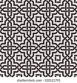 Seamless pattern with intersecting stripes, poly lines, polygons. Abstract ornament in Arabic style. Arabesque.