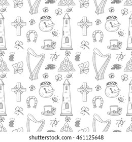 Seamless pattern with Ireland related hand drawn icons including irish round tower and others. Doodle vector Ireland related collection