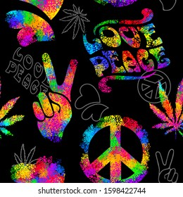 Seamless pattern from iridescent varicolored elements in Hippie style 1960s, 70s. Concept Peace and Love, a sign of Pacifism - two fingers up, cannabis, and hearts.