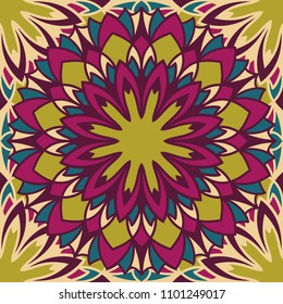 Seamless pattern islamic ornament. Floral textile print. Moroccan vector design. Oriental background with mandalas. Stained glass vitrage.