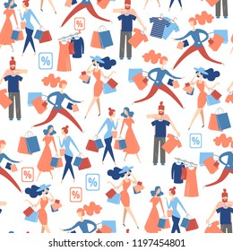Seamless pattern with isolated people on shopping. Isometric flat graphics. Communication, fitting,  shopaholism. Vector illustration